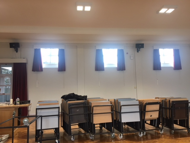 photo of curtains in windows in school hall