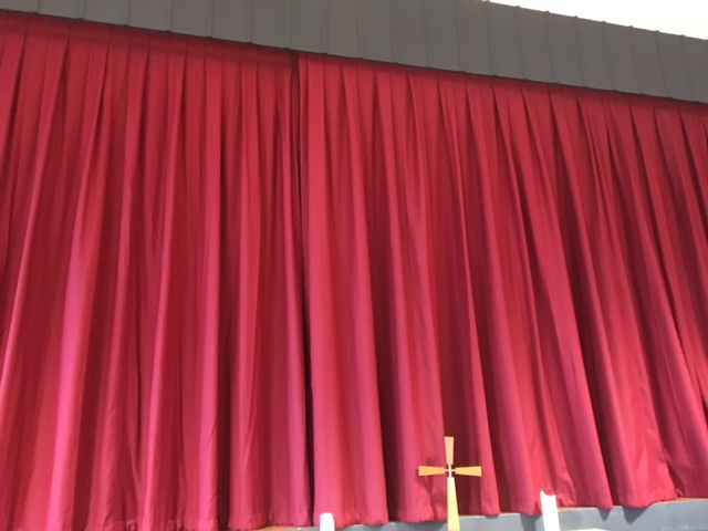 photo of stage curtain closed