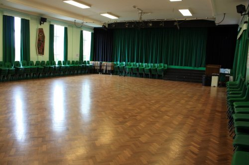 photo of stage curtain in school hall
